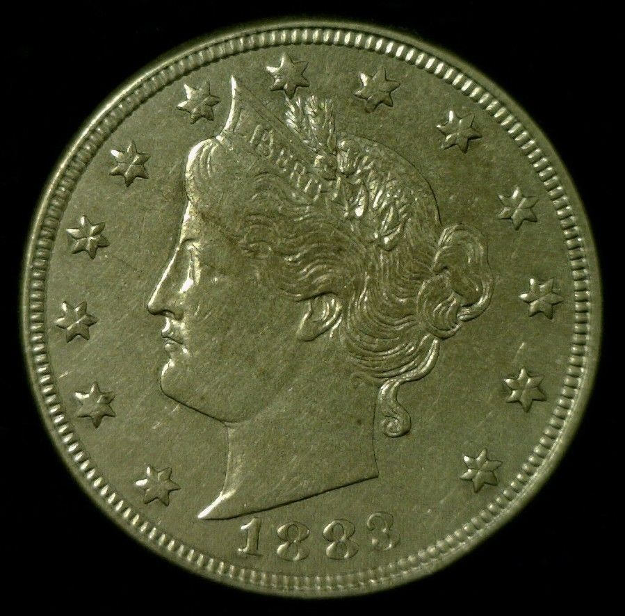 1883 LIBERTY (V) NICKEL 5¢ w/CENTS  AU CONDITION - $122.50