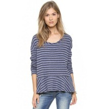 FREE PEOPLE WE THE FREE Aunite Em Peplum Waffle Thermal Stripe Shirt sz L - $32.67