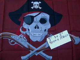 "Flag 3X5 3'X5"" 90X150 cm PIRATE RED Background jolly roger skull and bones - $9.90"