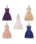 Sleeveless Sequins Embroidered Mesh with Satin Sash Girls Dresses - $54.00