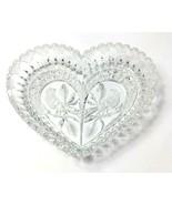 "Hofbauer Byrdes Crystal Glass Heart Candy Dish 9"" 1982 West Germany Vintage - $39.59"