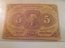 FR. FIRST ISSUE 5 CENT FRACTIONAL POSTAGE CURRENCY-PCGS VERY FINE 20 - $24.00