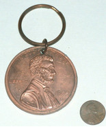 """2 1/8"""" Round Metal Copper Tone Good Luck 1995 D Lucky 1 Cent Penny Key C... - $12.01"""
