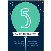 Navy Balloon and Confetti Birthday Party Invitations - $25.25