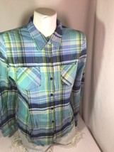 Mossimo Women Blue Shirts Button Up Size M Made In China Long Sleeve Bin... - $12.19