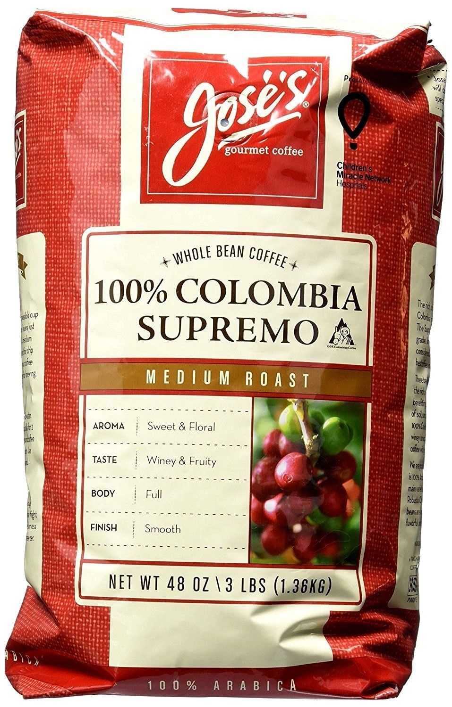 3x Joses WHOLE BEAN COFFEE 100% COLOMBIA SUPREMO Medium Roast Arabica Beans 3Lbs