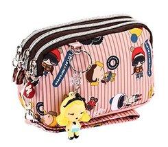 Cute Three Zipper Clutch Bag Wrist Bag Coin Purse Cellphone Pouch PINK Stripe
