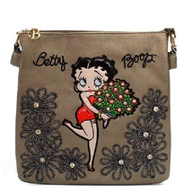 Betty Boop Messenger Bag COLOR GUN METAL Crossover Purse Handbag  - $19.99