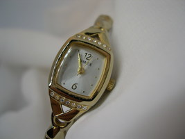 L52, TIMEX Ladies Gold Tone Watch, Silver Face Crystal Accents, Flex Band - $19.79
