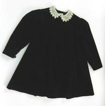 Laura Ashley 2-1/2 to 4 Yrs 40 in Dress Girls Black Velour Cream Crochet... - $59.38