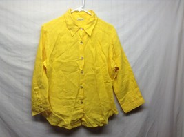 Ladies Yellow Mastro Moda Collared Button Up Linen Blouse