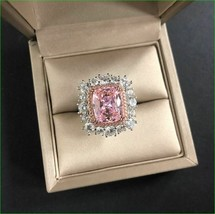 3Ct Cushion Cut Pink sapphire Cocktail Engagement Ring Solid 14K White G... - $142.49