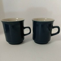 2 Japan Indigo Blue And White Coffee Tea Cups Mugs Vintage - $10.59