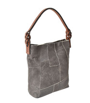 Women's Leather Patchwork Boho Chic Purse Quilted Lined Transport Tote Handbag image 2