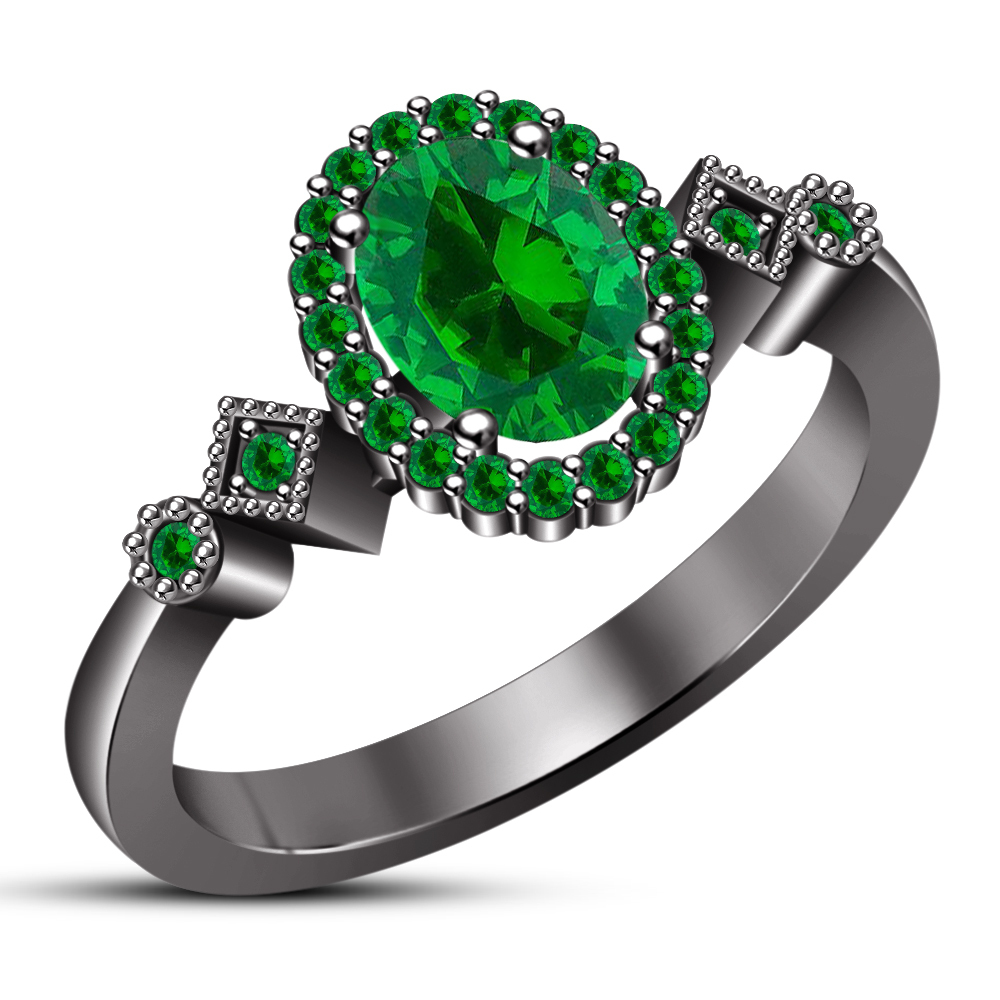 14k Black Gold Plated 925 Silver Oval Shape Green Sapphire Women's Wedding Ring