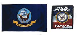 Wholesale Combo Set U.S. USN Navy Proud To Serve 3x5 3'x5' Flag & Mini Magnet - $10.88