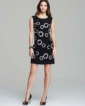 NWT Women's Adrianna Pappell Floral Embroidered Black Shift Dress with P... - $41.57