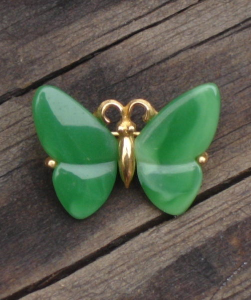 Vintage Crown Trifari© Faux Jade Butterfly Scatter Pin