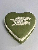 Vintage Wedgwood Green Jasperware Anniversary Heart-Shaped Trinket Box - $41.89