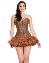 Brown Leather Zipper Burlesque Overbust Costume & Tissue Tutu Skirt Corset Dress - $99.99