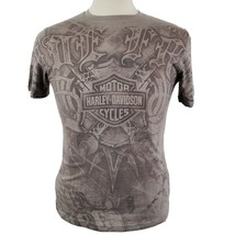 Harley Davidson Motor Cycle T-Shirt Adult Small Gray Poly Cotton Blue Sp... - $16.04