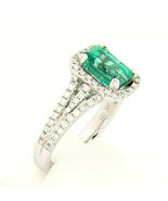 Cordova 14k White Gold Ring with Emerald and Diamond Size 6.5 Certified - $4,849.99