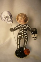 Vintage Inspired Spun Cotton, Skeleton Kid Halloween - $39.99