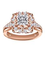 14K Rose Gold Over Princess Cut Disney Square Princess Belle Engagement ... - $79.19