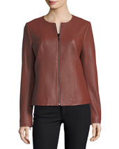 Vintage Jewel Neck Cropped Hot Women's Genuine Lambskin Leather biker Ja... - $149.00
