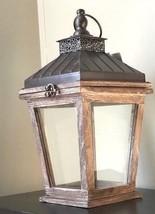 Aged Wood Lantern Rustic wood Candleholder Wedding Centerpiece - $38.56