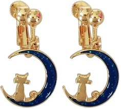 Screw Back Clip on Earring Clip non Pierced Dangle Charm Moon Cat Enamel... - $57.91