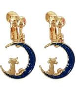 Screw Back Clip on Earring Clip non Pierced Dangle Charm Moon Cat Enamel... - $57.91