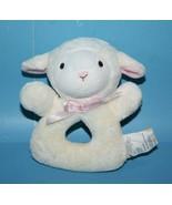 "Koala Baby Cream Pink Bow Plush Lamb 5"" Sheep Stuffed Ring Rattle Baby S... - $13.52"