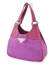 Authentic PRADA Purple Nylon and Leather Tote Hand Bag Purse #30959 - $195.00