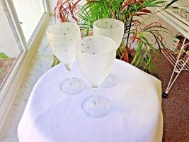 Set of 3 Wine Glasses in Frosted Dots Bowl  c 1970's, Unbranded - $35.63