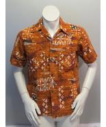 Vintage Hawaiian Aloha Shirt - Brown Tribal Pattern by Malihini - Men's ... - $55.00