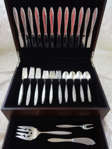 Lace Point by Lunt Sterling Silver Flatware Set For 12 Service 51 Pieces - $2,850.00
