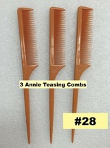 3PCS ANNIE TEASE COMB #28 VERY FINE TOOTH COMB FOR TEASING WITH RAT TAIL... - $2.56