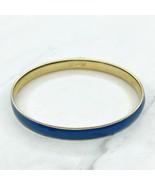 J. Crew Gold Tone Blue Enamel Bangle Bracelet - $13.56