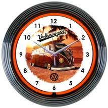"Volkswagen Bus Authorized Auto Car Garage Neon Clock 15""x15"" - $69.00"