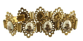 Vintage European Ornate 1950's Brown Delft Porc Cabs  Filigree Link Brac... - $67.49