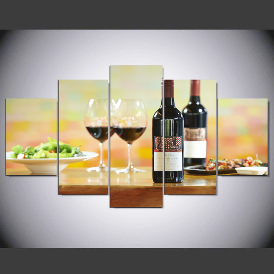 Framed 5 Piece Good wine bottles glasses Poster HD Canvas Wall Art ...