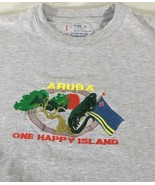 Aruba One Happy Island Men's T Shirt Size L Cotton Gray Green Red Yellow... - $11.87