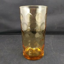 """Glass Coin Spot Amber Tumbler Drinking Glass 5 1/8"""" Tall Unknown Mark - $7.92"""