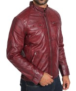 TOP Quality Mens Maroon Distressed Leather Biker Jacket Gents Casual Lambskin M9 - $104.99