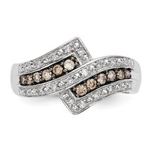 STERLING SILVER 1/3 CT CHAMPAGNE DIAMOND CLUSTER SWIRL RING - SIZE 7 - £338.78 GBP