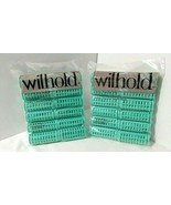 NOS Wilhold 24 Large Snap-on Rollers Green Hair Curlers NEW SEALED Vintage - $26.23