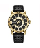 Benyar Men's Leather Analog Quartz Wrist Watch BY-5150M (Black & Gold) - $40.00