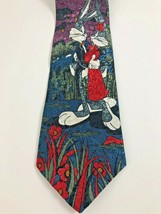 Looney Tunes Bugs Bunny and Girlfriend Moonlight Necktie 100 percent Sil... - $16.83