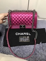 AUTHENTIC CHANEL LIMITED EDITION METALLIC PURPLE PINK PATENT MEDIUM BOY FLAP BAG